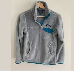 Patagonia Re-Tool Snap-T Fleece Gray Teal blue